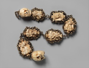 Rosary, ca. 1500–1525 German, Ivory, silver, and partially gilded mounts; Overall: 24 11/16 x 2 1/8 x 1 3/4 in. (62.7 x 5.4 x 4.5 cm) Top Terminal: 1 5/8 x 1 5/16 x 1 1/2 in. (4.2 x 3.4 x 3.8 cm) 2nd bead: 2 1/16 x 1 11/16 x 1 in. (5.2 x 4.3 x 2.6 cm) 3rd bead: 2 3/16 x 1 7/8 x 11/16 in. (5.6 x 4.7 x 1.7 cm) 4th bead: 2 5/16 x 1 15/16 x 1 in. (5.8 x 4.9 x 2.6 cm) 5th bead: 2 9/16 x 2 x 1 1/16 in. (6.5 x 5.1 x 2.7 cm) 6th bead: 2 1/2 x 1 13/16 x 7/8 in. (6.3 x 4.6 x 2.2 cm) 7th bead: 2 3/4 x 2 1/8 x 1 in. (7 x 5.4 x 2.5 cm) Bottom Terminal: 2 1/16 x 1 7/16 x 1 15/16 in. (5.2 x 3.6 x 5 cm) The Metropolitan Museum of Art, New York, Gift of J. Pierpont Morgan, 1917 (17.190.306) http://www.metmuseum.org/Collections/search-the-collections/464300