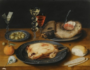 Still_Life_of_a_Roast_Chicken,_a_Ham_and_Olives_on_Pewter_Plates_with_a_Bread_Roll,_an_Orange,_Wineglasses_and_a_Rose_on_a_Wooden_Table-1